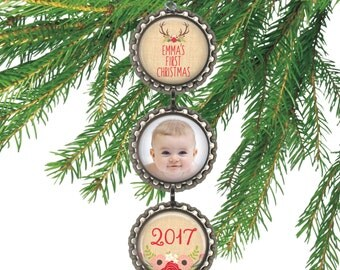 Custom photo ornament Baby's first Christmas baby girl ornament personalized gift for new parents rustic burlap and antlers. BURLAP BABY
