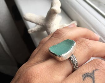 Sea Glass Ring Sz6 1/4 Aqua Grecian Mermaid Tears Floral Band Sterling Silver