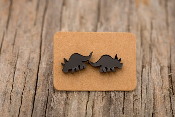 FREE SHIPPING WORLDWIDE - Tiny-Saurs - Triceratops Earrings - Surgical Steel - Acrylic Earrings Studs