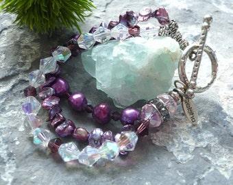 freshwater pearl bracelet,crystal bracelet, , downton abbey bracelet, purple bracelet, toggle clasp bracelet, crystal and pearl bracelet