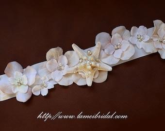 Starfish  Bridal Sash for Beach Wedding,Fabric Flowers with Cream Starfish ,Rhinestone  and pearls wedding Sash Belt