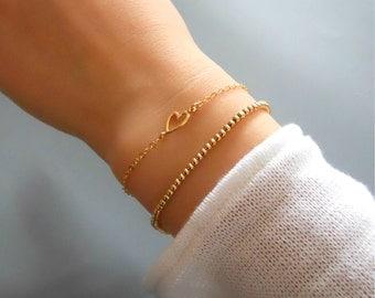 Set of 2 Bracelets, Gold Heart Bracelet, Gold Filled Beads Bracelet, Gold Filled Bracelet Set, Dainty Layered Bracelet , Bracelet Set #520