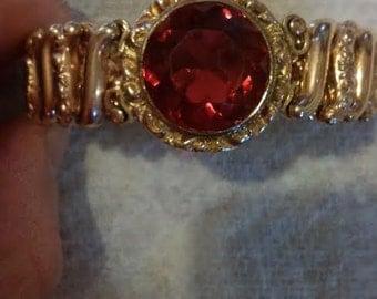 Vintage ornate red paste gold filled bracelet