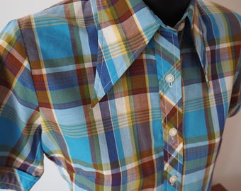 60s dagger collar women's check button down shirt M