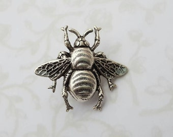 Silver Bumble Bee Brooch Pin Woodland Nature Garden Wedding Boho Rustic Queen Bee - Sweet As Can Bee