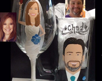 Bride and Groom Toasting Painted Caricature Wedding Glasses  Painted Cartoon Bridal Set
