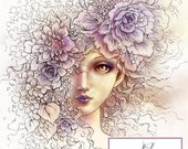 Sofortiger Download - digitale Stempel - Schleier der Blütenblätter - schöne Mädchen mit Blumen - Fantasy Linie Art Digi für Kunst und Handwerk - AuroraWings