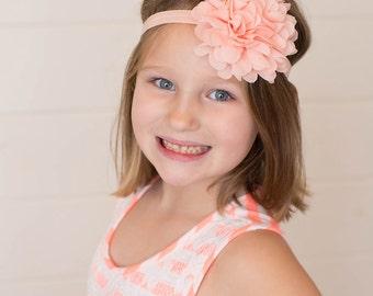 Peach Flower Headband, Peach Headband, Peach Flower Clip, Peach Hair Clip, Peach Flower Girl Headband, Peach Bridal Flower, Peach Headpiece