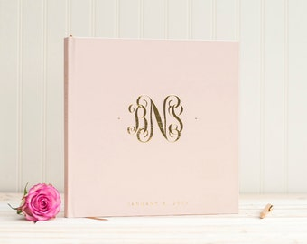 Wedding Guest Book with Real Gold Foil guestbook in Blush custom monogram album personalized instant photo wedding 12x12 sign in hardcover