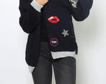 Navy Blue Wool Cardigan.