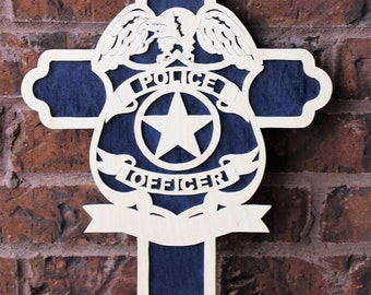 Police Officer Cross Wall Hanging - Law Enforcement Appreciation Gift - Wooden Sign - Cross Collection