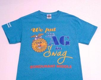 FFA T shirt Vintage Blue Ag in Swag Tee 1990s Future Farmers of America Agriculture Franklin County Farm Bureau Americana Owl Logo Small S