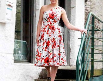 One shoulder floral dress/ midi dress/ white red midi dress/ prom dress/ swing dress/ one shoulder tea length dress/ summer dress