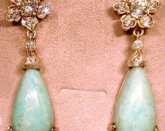Art Nouveau Belle Epoque Silver Agate Earrings Vielle Argent
