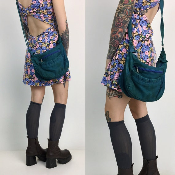 90's Denim Purse Teal Green Hand Dyed Cross Body Denim Bag - 90's GRUNGE Denim Purse Green Blue Bag - Slouchy Green Denim Pocket Book Purse