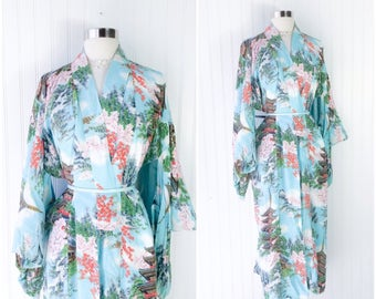 Vintage 1940s aqua blue rayon kimono / cherry blossom floral print / Japan scenery / temples / clouds / trees / pinup boudoir robe