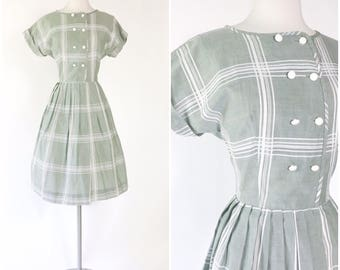 sage green & white plaid printed cotton day dress / vintage 1950s shirtwaist dress/ double breasted white buttons / size M or L