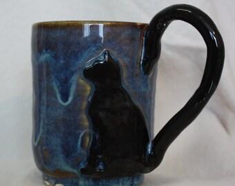Whimsical Black Cat Mug #25