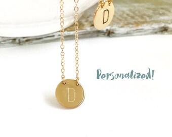14kt Gold Filled Charm Necklace, 14kt Rose Gold Filled Monogram Necklace, Sterling Silver Initial Charm Necklace, Personalized Necklace