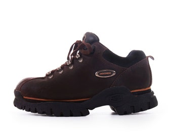 Vintage Skechers Platform Hiking Boots Chunky Platforms 90s Platform Shoes Brown Leather Sneakers Women's Size US 7 / UK 5 / EUR 37-38
