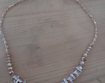 Vintage rhinestone and glass bead necklace