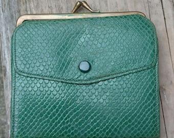 Vintage green snake skin coin purse