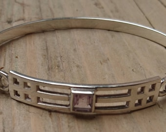 Vintage sterling silver and amethyst bangle