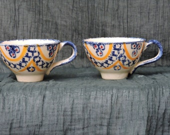 TWO French Henriot Quimper Ceramic Cups  - Vintage Breton Folk Art/Tole Hand Decorated Signed Pottery - Breton Faience Ironstone