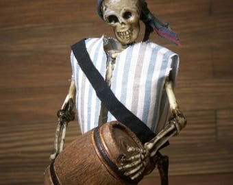 "Miniature Skeleton ""Pirate with Barrels"" for your Dollhouse"