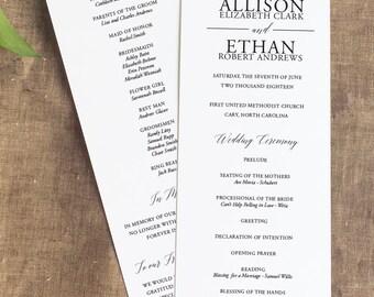 Contemporary Wedding Ceremony Program, Simple Wedding Programs, Order of Service, Panel Style Wedding Ceremony Program, Formal Wedding