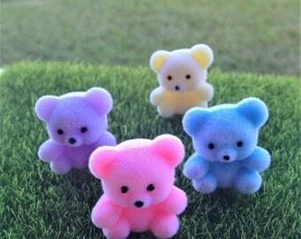 Four Cute Flocked Teddy Bear Figurines Fairy Garden Pastel Colors