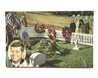 Vintage JFK Postcard / John F. Kennedy Burial Postcard / Arlington National Cemetery Postcard / Historical Collectible