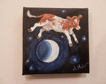 "Original painting: ""The cow jumped over the moon"""