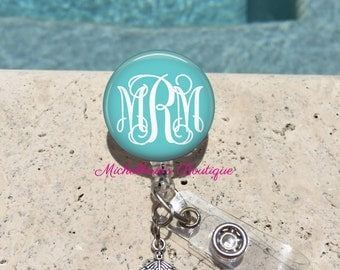 Monogram Badge Reel, Retractable Badge Holder, Personalized Badge Reels, Doctor Badge Reels, Nurse badge Reels, RN BSN, LPN, Medical