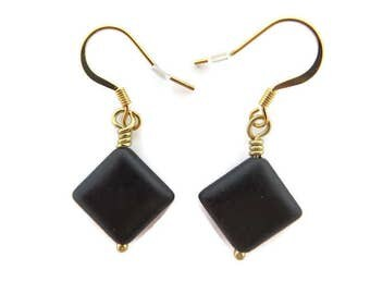 Black Earrings, Black Stone Earring, Black Diamond Shaped Earring, Black Dangle, Black and Gold Earring, Jet Black Drop Earring, Black Bead