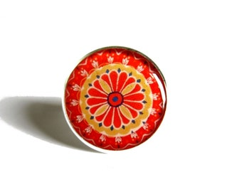 MANDALA Ring - Red and Yellow Mandala Jewelry - Statement Ring - Ajustable Ring - Mandala Art Print - Boho Ring