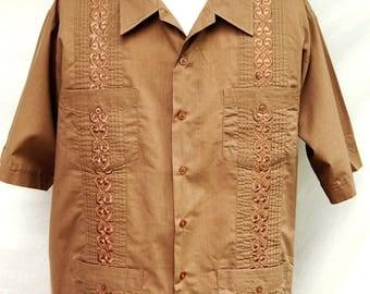 Vtg Brown Embroidered Guayabera Style Shirt  Mexican Wedding Shirts Mens Rockabilly Vintage Tropicool Short Sleeve