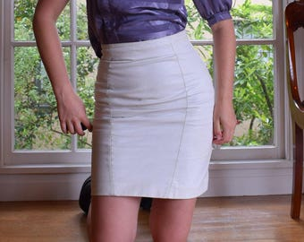 80's White Leather Pencil Skirt