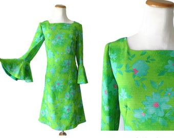 Bell Sleeve Dress Mod Floral Mini Shift 60s Flower Power Print 70s Hippie Neon Green Size Small 1960s 1970s