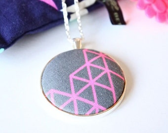 Geometric Fabric Pendant.  Grey and pink Geometric fabric necklace on silver chain
