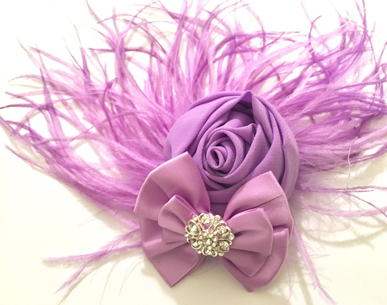 Lavender Hair Fascinator Lilac Fascinator Bridal Hair Flower Feather Clip