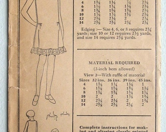 Vintage 20s Girls' Slip Pictorial Review 4230 Sewing Pattern Size 8