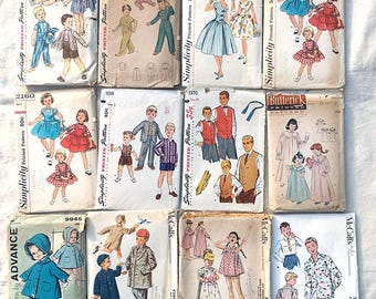 Lot of 65 Vtg Childrens Sewing Patterns 50s 60s 70s COMPLETE Simplicity McCall's - Free Shipping!