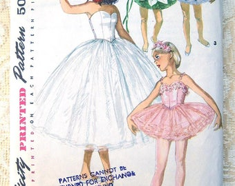 50s Girls' Ballet Costume with Hat & Ruff. Simplicity Sewing Pattern 4863.  Size 8