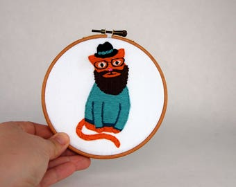 Ginger Hipster Cat Hoop Art - Hand Embroidered Cat Wall Hanging -