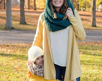 Women's Hooded Cowl - Adult Hooded Scarf - Women's Teal  Scarf - Chunky Scarf Hood - Blue Scoodie - Teal Chunky Scarf