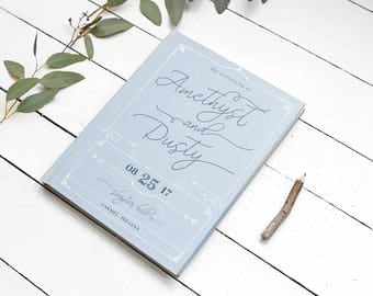 Dusty Blue Guest Book - Elegant Wedding Guestbook - Custom Color Guest Book - Personalized Keepsake - 8 x 10