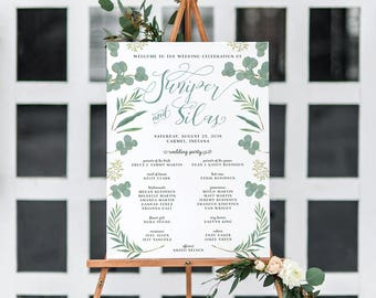 Wedding Program Sign - Welcome Sign with Wedding Party - Green Leaves
