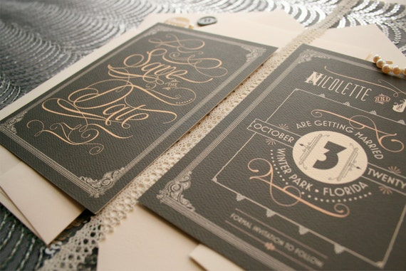 Art Deco Wedding Save the Dates Inspired by the Great Gatsby & Roaring Twenties - Daisy