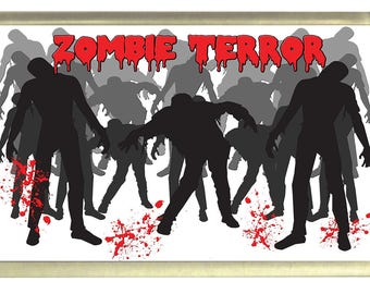 Zombie Terror Fridge Magnet 7cm by 4.5cm